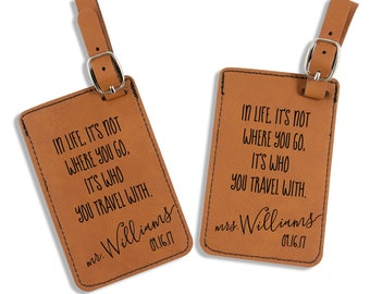 Mr and Mrs Luggage Tags - Wedding Gift - Travel Quote Luggage Tags - Personalized - Honeymoon - His and Hers Luggage Tags - Bag Tags
