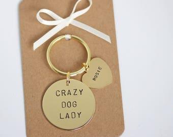 Crazy Dog Lady Hand stamped Keyring, personalised with dogs names. Dog Gift. dog keyring. dog lover gift