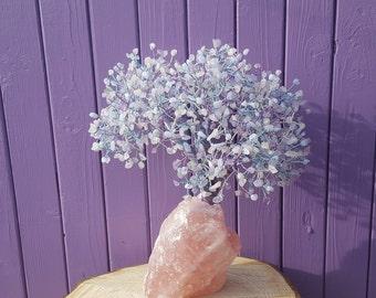 Blue Lace Agate, Amethyst Gem Tree, Rose Quartz Decor, Raw Crystals, Semi-precious Stones, Spiritual Decor, Gemstone Decoration, Pagan Altar