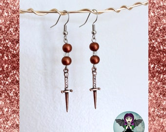 Beaded Dagger Earrings