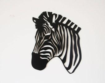 Zebra Wall Hanging Metal Art   Black And White Home Decor Wall Art