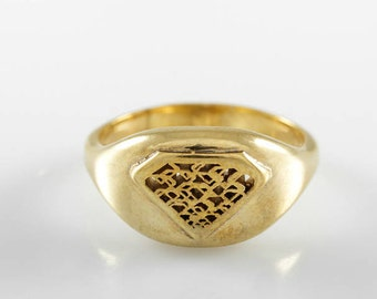 Gold woman signet ring, solid gold signet ring,diamond shaped ring,Diamond silhouette ring,Diamond shape ring,Diamond signet