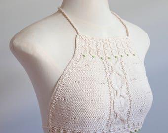 Knitted crochet top, Bikinitop, boho, bohemian clothing, Festival clothing