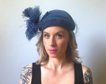 Vintage 30's Blue Netted Hat w/ Ostrich Feather
