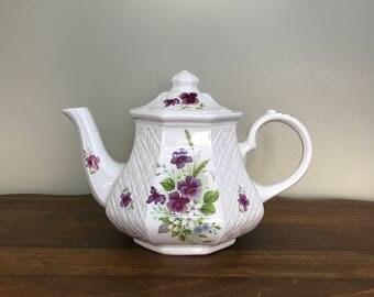 Sadler Violets Teapot - Vintage Tea Pot - Tea Party- Shabby Chic Home Decor