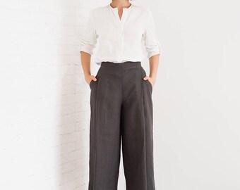 Linen Women Culottes, Women's Linen Trousers, Linen Cropped Trousers, Womens Linen Pants Culottes, Autumn Trousers, Autumn Pants