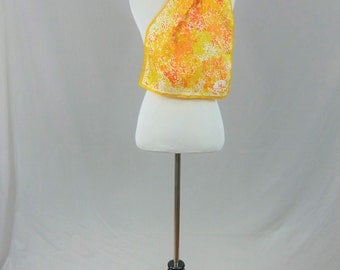 "70s Scarf - Signed Schiaparelli - Orange Yellow Flowers - Vintage 1970s - 43"" x 13"""