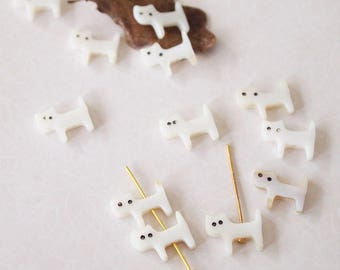 6 Cat Beads Flat Carved From Shell Colour White Ivory Small And Quirky Size 13 x 10mm