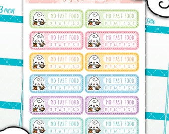 Habit tracker planner stickers, no fast food stickers, no burger stickers, no fries stickers, habit stickers, GOP011