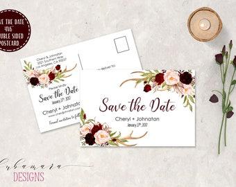 Postcard Deer Antlers Wedding Save the Date Invitation Burgundy Pink Spring Boho Floral Invite Printable Rustic Digital Invitation - WS028