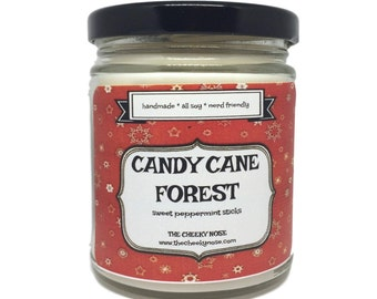 Candy Cane Forest Candle - 8 oz Soy Candle - Scented Candle - Christmas Candle - Candy Cane Candle - Peppermint Candle - Gift Under 15