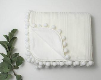 Ivory Knit Pom Blanket, White Flannel Pom Pom Blanket, Pom Blanket, Baby Blanket, Gender Neutral Baby Blanket, Knit Blanket