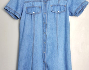 Vintage denim dress, light wash button up denim dress, denim shirt dress, 90s short denim dress, size S