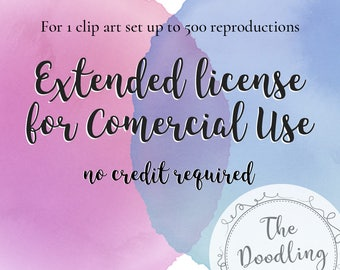 Extended license for Comercial Use no credit required. For 1 Clip Art Set up to 500 reproductions - The Doodling Studio