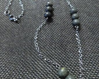 Russian Jade Serpentine Hematite Chain Necklace