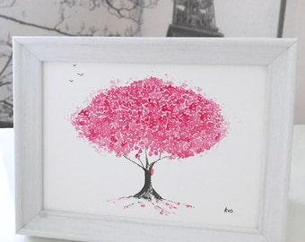 Cherry Blossom Pink Painting: small ink and watercolour painting, framed painting, cherry blossom painting, can be personalised to gift!
