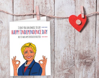 Hillary Clinton, Invitation card, Independence day, July 4th, Printable card
