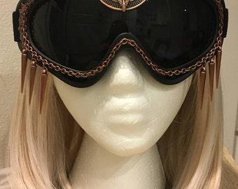 Burning Man Goggles - Black, dark lenses, copper accent