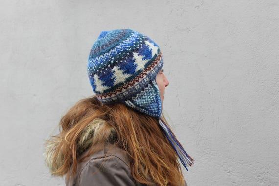 Fair isle ear flap hat Hand knitted women's hat Wool knit