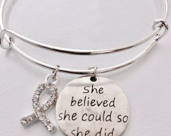 Breast Cancer Bracelet, She did it, Fuck Cancer, Ribbon Beat Cancer, Cancer bangle, She believed so she could do it. Cancer surviror, Hero