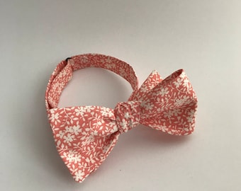 Self Tie Bow Tie- Coral & Floral