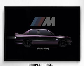 DIGITAL PRINTABLE car fan ART, bmw m3 e30, Classic sport, Minimal style, Wallart, Poster, High resolution, Instant download, Minimalism