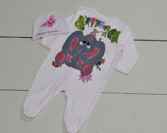 A unique baby gift, Hand painted baby clothes, Personalised baby gift, Personalised baby elephant, Baby shower gift