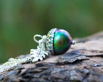 Sylvan Magic Acorn Necklace   Iridescent Green and Silver Acorn Pendant   Nature Jewelry   Fall Acorn Charm Necklace