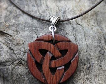 Irish Bog Yew Celtic Trinity Necklace, Handcarved 6000 Year Old Bog Yew Irish Jewelry, Celtic Triquetra Necklace, Handmade in Ireland