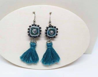 Boho Bling Tassel Paper Earrings - Turquoise Blue - First Anniversary - Bridesmaid