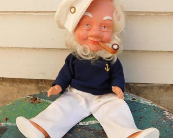 Vintage Sailor Doll From West Germany, Novelty Doll, Boat Captain