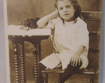 1914 Proof Photo Postcard of 6 Year, 8 Months Old Exasperated Little Girl