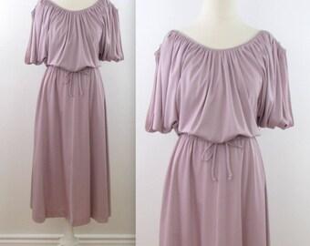 Soft Dusk Open Shoulder Dress - Vintage 1980s Circle Skirt Mauve Dress in Medium Large by Orite