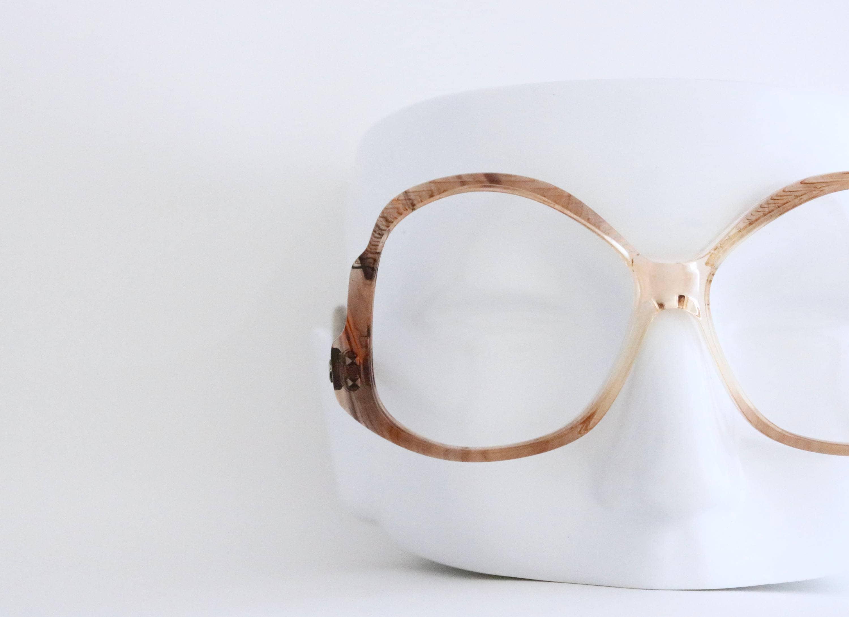 Vintage Oversized Cognac Drop Arm Eyeglasses Frames ...