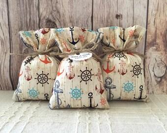 rustic favor bags, handmde 10 fabric beach wedding or baby shower rustic favor bags.
