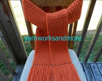 Knit Scarf, Winter Scarf, Orange Knit Scarf, Loom Knit Scarf, Warm Scarf, Handmade Scarf, Burnt Orange Scarf, Fringed Scarf