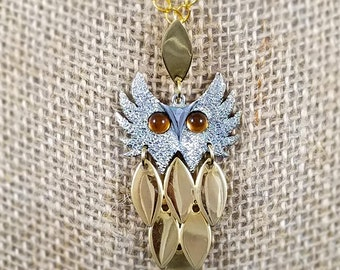 Vintage silver and gold owl pendant