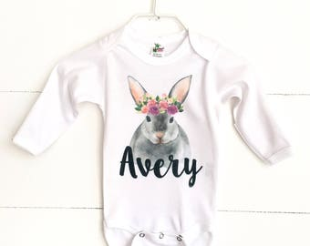 Baby Girl Easter Bodysuit, Baby Easter Outfit, Boho Bunny Shirt, Personalized Bunny Shirt, Spring Outfit for Girl, Newborn Take Home Outfit