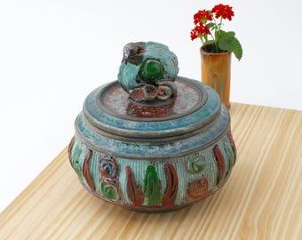 Handmade Blue and Copper Raku Jar #02, Ceramic Raku Jar, Lidded Pottery Jar, Ceramic Urn