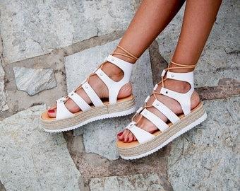 "Gladiator Sandals "" Arizona "", lace sandals, gladiator sandals, genuine leather sandals, greek sandals, white sandals, flatform sandals"