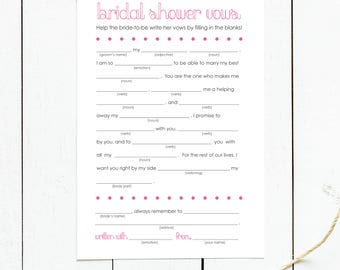 Printable Funny Wedding Vows Mad Libs for Bridal Shower & Bachelorette party // Digital File // 8.5x11 // Instant Download