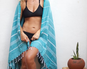 Turkish Towel Turquoise | Authentic Beach Towel Travel Throw Free Shipping Bath Towel Fouta Turkish Cotton Yoga Spa Blanket Sarong TALL11