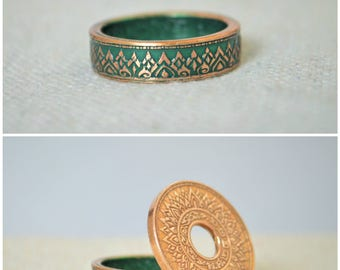 Thailand Coin Ring, Green Ring, Thai Coin Ring, Crown Ring, Unique Ring, Green BoHo Ring, Coin Jewelry, Bohemian Ring, Thailand, Coin Ring