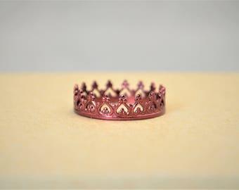 Dainty Maroon Crown Ring, Maroon Princess Crown Ring, Princess Ring, Tiara Ring, Queen Ring, Maroon Ring, Maroon Princess Ring, Maroon