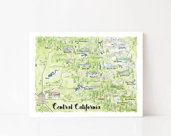 Kings Canyon National Park Art, Sequoia National Park, Sequoia Art, National Park Poster, National Park Print, Central California Map Art