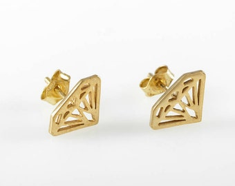 Gold Earrings , Diamond shape, Diamond silhouette earrings 14K solid gold diamond shaped stud earrings, Gold diamond earring