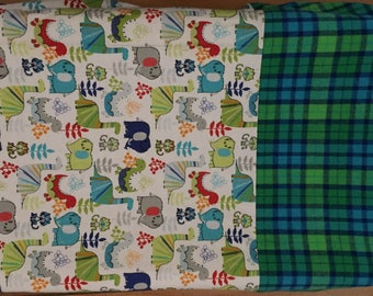 Changing Pad Cover, Baby Boy,  in Blue and Green Flannel Plaid and Dinosaur Print, Baby Shower Gift, New Baby Boy