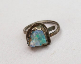 Handmade ring | rough opal | raw opal | opal ring | rainbow opal | October birthstone | rough gemstone | adjustable ring | bohemian |