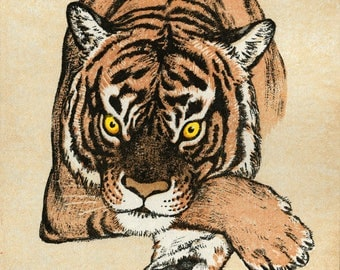 "Japanese Art Print ""Tiger"" by Yoshida Toshi, woodblock print reproduction, asian art, cultural art, woodcut reproduction"