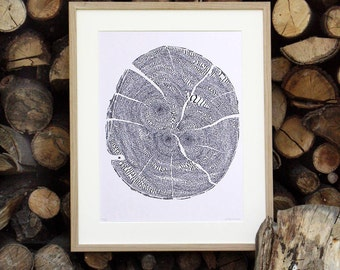 """Calligraphy """"An old tree you planted don't"""" - art print 30 x 40 cm"""